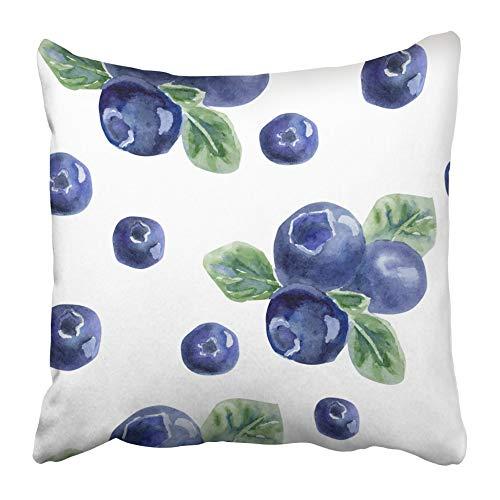 AEMAPE Fundas de Almohada Coloridas Hermosas Arándanos Frescos Naturales Azul Brillante Verde Violeta Acuarela en Blanco Funda de cojín de 40X40 cm