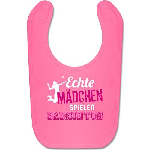 Sport Baby - Echte Mädchen spielen Badminton - Unisize - Pink - badminton lätzchen - BZ12 - Baby Lätzchen Baumwolle