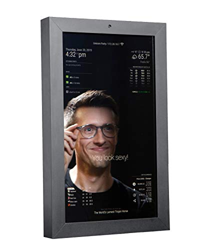 Makr Mirror Smart Mirror w/ 21.5' Edge-to-Edge 1080p HD Display - Gray Bead Blasted Aluminum Frame - Camera & Mic - Open Source Software & Modular Raspberry Pi Hardware