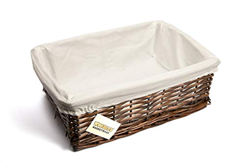 woodluv New Dark Brown Wicker Storage Basket W/Off White Cloth Lining Xmas Hamper(Large)