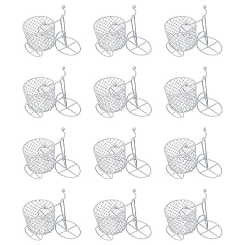 12 Piezas,Triciclo Regalo Boda,Bautizo,Caja de Caramelo,decoracion de boda,Bautizo,Cumpleaños,Fiesta-triciclo blanco