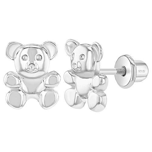 In Season Jewelry Plata Fina 925 Pendientes con Cierre de Rosca en forma de Oso de Peluche para niñas pequeñas, joyería de osos para niñas, Pendientes divertidos y elegantes con osito de abrazar