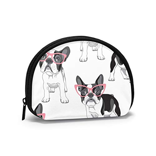 Black Frenchie Cartoon French Bulldog Pink Glasses White Dog Women Girls Shell Cosmetic Make Up Storage Bag Outdoor Shopping Coins Wallet Organizer