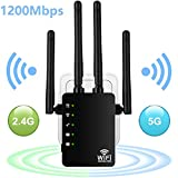 1200Mbps WiFi Extender, Aigital Wireless Internet Booster Dual Band (5G+2.4G) Wi-Fi Repeater Signal
