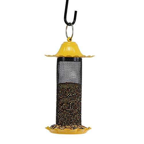 JXXDDQ Mangeoire pour Oiseaux pittoresque, Mini-Jardin extérieur en Plein air, matériau pour Abreuvoir en métal (Color : Yellow)