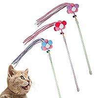 猫じゃらしおもちゃ ねこじゃらし おもちゃ ミニベル付き 3点セット 猫じゃらし 棒 羽毛 丈夫 フリンジ 猫 おもちゃ 天女棒
