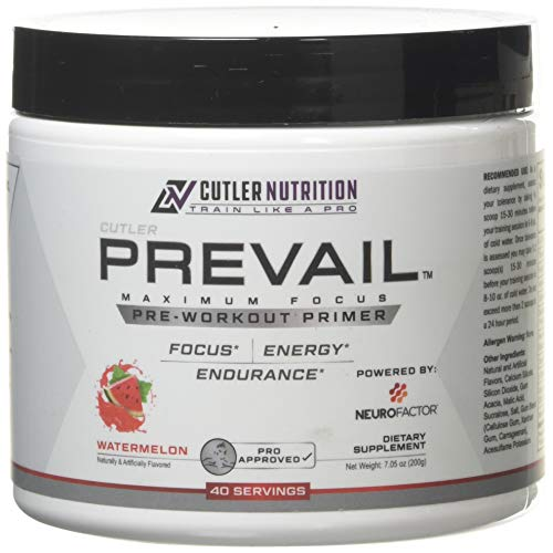 Prevail Pre Workout Powder with Nootropics: Best Pre Workout for Men and Women, Cutting Edge Energy and Focus Supplement with L Citrulline, Alpha GPC, L Tyrosine, Neurofactor | Watermelon, 40 Scoops