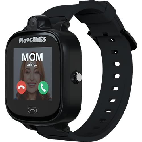 Moochies, 4G Smartwatch Phone for Kids with Voice Calling, Video Calling, SMS & Voice Messaging, GPS, SOS Alerts, Camera, Class Mode, Pedometer - IP67 Waterproof (Black)