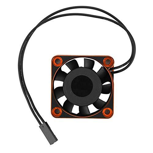 Ventilador de enfriamiento RC, 40 x 40 x 10 mm Aluminio y plástico 16000 RPM Control remoto Ventilador de enfriamiento Piezas de actualización RC Accesorios para 1/10 1/8 Coche RC(Naranja negro)