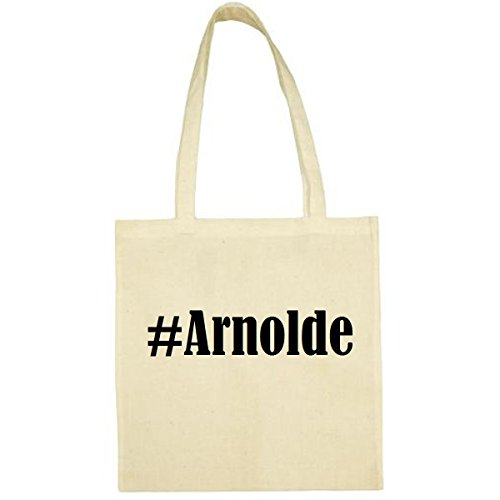 Tasche #Arnolde Größe 38x42 Farbe Natur Druck Schwarz