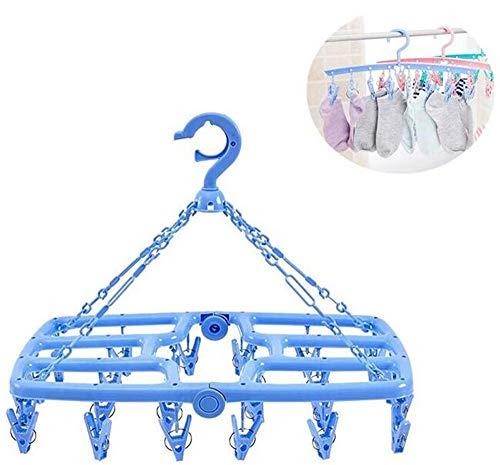 QYL Multifunctionele Plastic Vet Droogrek Opvouwbaar Winddicht Droogrek Multi-Klem Ondergoed Sokken Hanger Clip 24 Clips