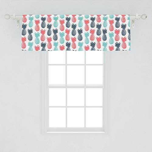 "Ambesonne Pineapple Window Valance, Island Pineapple Tropic Fruit Pattern Stamped Minimal Backdrop Pop Art, Curtain Valance for Kitchen Bedroom Decor with Rod Pocket, 54"" X 18"", Turquoise Coral White"