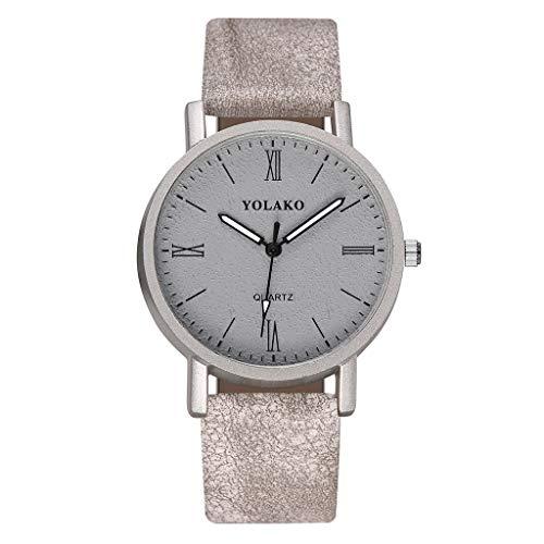 KiyomiQvQ Damen Uhren Verschleißfeste Schöne Lederband Armbanduhr Einzigartige Römische Ziffern Zifferblatt Watch Einfache Charmant Legierung Gehäuse Markenuhren Luxusuhren schmuck