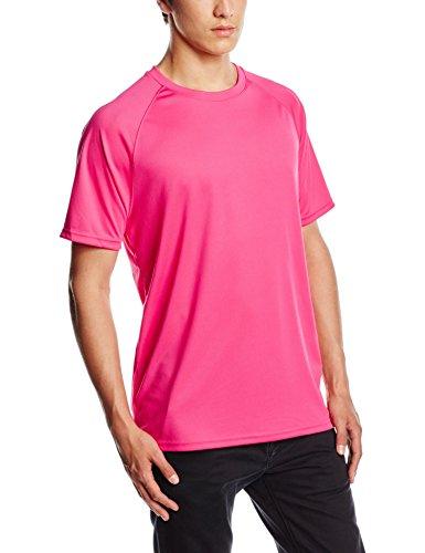 Fruit of the Loom - Camiseta Deportiva Transpirable de Manga Corta para Hombre - 100% poliéster (2XL) (Fucsia)