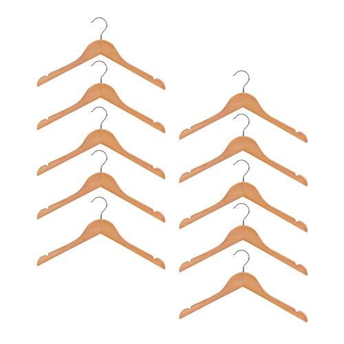 QAZX Juego de 10 perchas de pared de madera para bebé, guardería, ropa de madera, 32 cm