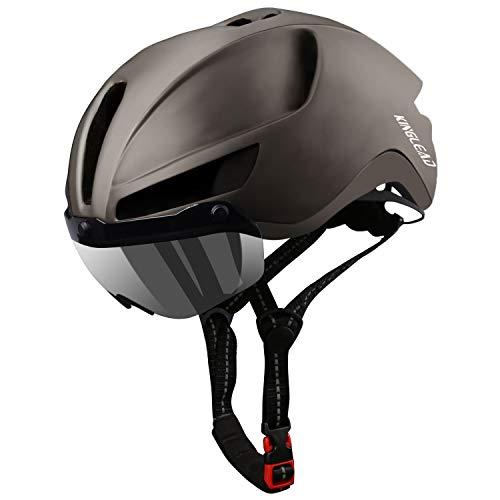 KINGLEAD Casco de Bicicleta de montaña, Casco de Bicicleta de Carretera Seguridad para Hombres Carga USB, Gafas magnéticas Desmontables Protección UV y Visera Casco de Ciclismo Hombres ⭐