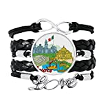 DIYthinker Mexico Cultura Bandera Famosos Lugares turisticos Graffiti Pulsera de Amor Adorno de Cuero Torcido Hilo de muñeca