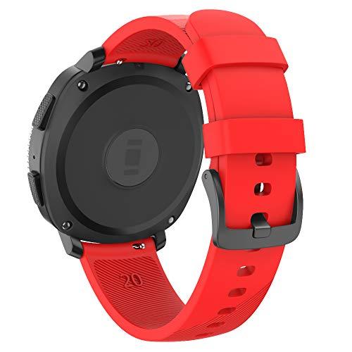 Isabake Correa para Samsung Galaxy Watch Active/Active 2 40&44mm/Galaxy Watch 42mm/Gear Sport/Gear S2 Classic, Banda de Repuesto de Silicona Suave de 20mm para Accesorios de Reloj (Rojo)
