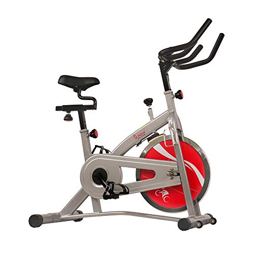 Sunny Health & Fitness Indoor Cycling Stationary Spin Exercise Bike with LCD Display, 30 LB Flywheel - SF-B1421C,Gray