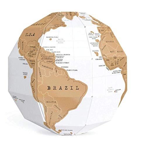 KANJJ-YU 3D DIY World Map Travel Scratch Globe Stereo Assembly Scratch Globe Tellurion Set Geography Hardware Accessories