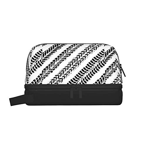 Bolsas de aseo Bolsa de lavado con textura de neumáticos Bolsa de maquillaje Organizador colgante de viaje con bolsa de cosméticos separada seca y húmeda