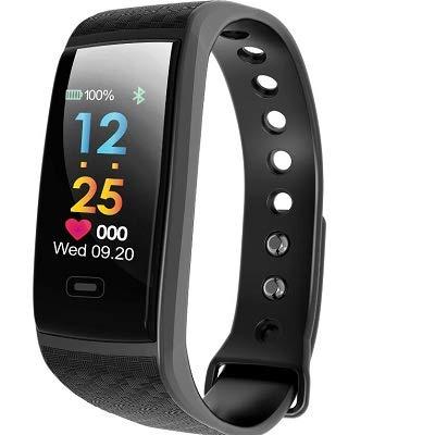 Wallfire Fitness-Tracker, IP67, wasserdicht, Smart-Armband, Herzfrequenz, Blutsauerstoff-Monitor, Farbdisplay, Smartwatch für Damen und Herren Schwarz