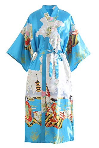 YAOMEI Novia Mujer Vestido Kimono Satén, Camisón para Mujer, Sedoso Flores de Geisha Robe Albornoz Dama de Honor Ropa de Dormir Pijama, S-2XL (Busto: 126cm, de S a 2XL, Lago Azul)