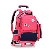 YUTCRE Mochila Escolar Trolley Niña, Pequeña con Correa Estuche con lápices Bolsa Escolares para Estuche Viaje para Niños (Color : Rose Red, Size : 39 * 28 * 14cm)