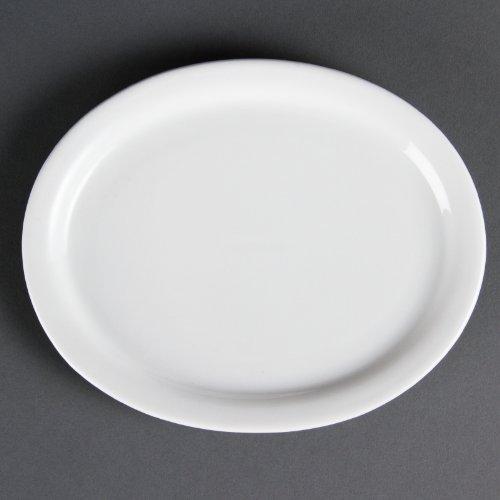 Olympia Whiteware Lot de 6 plateaux ovales en porcelaine 202 mm Passe au congélateur