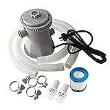 Depuradora de Filtro de Cartucho Bomba de Filtro de Cartucho Transparente 900 GPH Cartridge Filter Pump, para Herramienta de Limpieza de Piscinas sobre el SueloGris, 220V,UK Plug