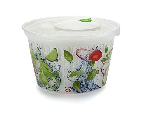 Snips Ulaop Verzierte Salatschleuder, Zentrifugaltechnik, transparenter Kunststoff mit weiß/ grün/ rot