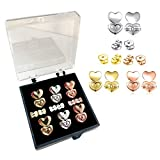 Original Magic Earring Lifters,Instantly Lift Earring Backs,3 Pairs of Adjustable Earing Lifts+3 Pairs Sterling Silver Screw Earring Backs, Ear Lobe Support for Womens(Love)