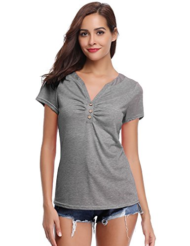 Abollria Damen T-Shirt Kurzarm V Ausschnitt Sommershirt mit Knopf Stretch Oberteil Weiches Dekolleté Top