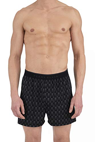 Perry Ellis Men's Cascade Dot Luxe Boxer Short, Black/Ebony, Large