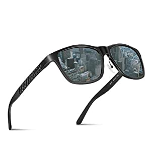 偏光 サングラス ウェリントン 偏光レンズ 釣り ドライブ スポーツ アウトドア ユニセックス JBHOO ポーチセット (ブラックフレーム&黒灰色レンズ)