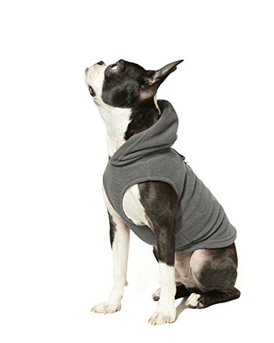 Gooby - Fleece Vest Hoodie, Small Dog Pull Over Hooded Fleece Jacket with Leash Ring, Gray, Large