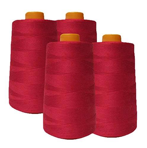 AK Trading 4-Pack RED All Purpose Sewing Thread Cones (6000 Yards Each) of High Tensile Polyester Thread Spools for Sewing, Quilting, Serger Machines, Overlock, Merrow & Hand Embroidery.