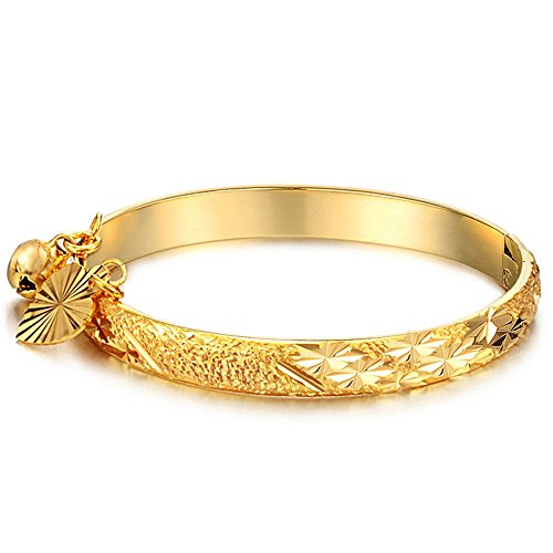 Fate Love Children's Gold Baby Cuff Bracelets Prevent Allergy Bangle with Heart and Pendant Gift