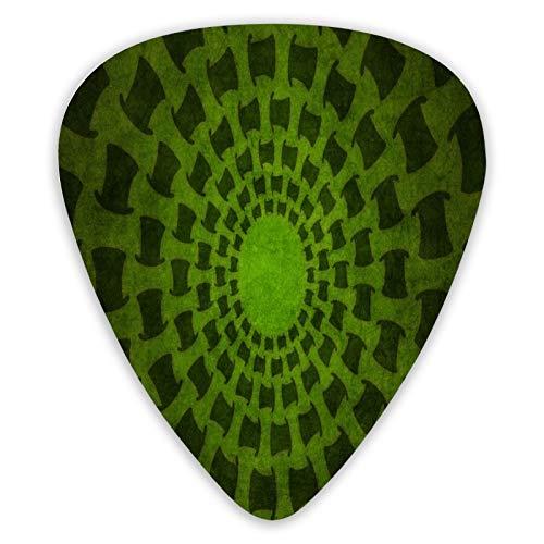 12 púas de guitarra FULIYA para guitarra eléctrica, acústica o bajo, incluyendo 0,46 mm, 0,71 mm, 0,96 mm, buceo, línea, espiral, giro, textura.