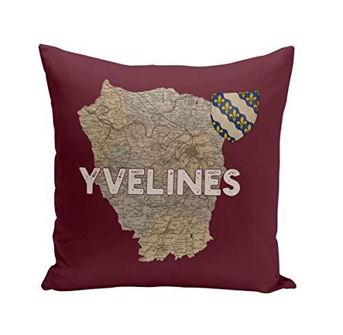 Fabulous Coussin 40x40 cm Yvelines 78 Département Versaille Carte Ancienne Ile de France