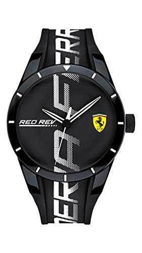 Scuderia Ferrari Red Rev On Track Analog Black Dial Men's...