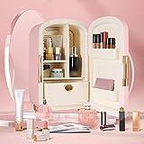 TTLIFE maquillaje nevera mini nevera 12L portátil mini refrigerador maquillaje,cuidado de la piel refrigerador cosméticos refrigerador compacto calentador para dormitorio,oficina,coche (Rosa)