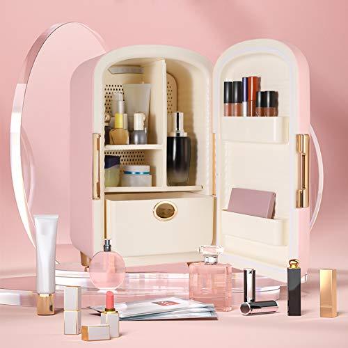 TTLIFE Mini Frigorifero Skincare Beauty Fridge 12L Portatile Make up Frigorifero Frigo Cosmetico,Combinato con il design della scatola di immagazzinaggio,Adatto per camera da letto,auto,viaggi (Rosa)