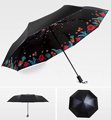 Sasan Student Dach falten schwarz Klebstoff Sonnenschutz Dach Ultra Strong anti uv-siebzig Prozent aus Regenschirm Daisy Cherry Blossom Regenschirm, Abdominal- Gedicht