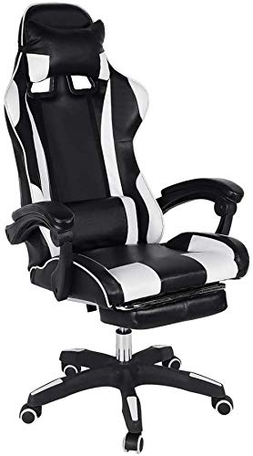 Gaming Chair Racing Desk Chair Adjustable High-Back PU Leather Computer Office Chair 360° Swivel Casters CushionFootrest with Head Pillow Lumbar
