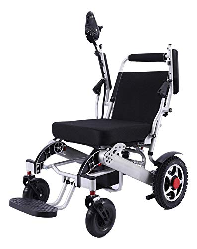 Electric Wheelchair Folding Lightweight 60 lbs w/Battery Supports 365 lbs Aircraft Grade Aluminum Alloy Frame Strength New Upgraded w/More Secure and Stable