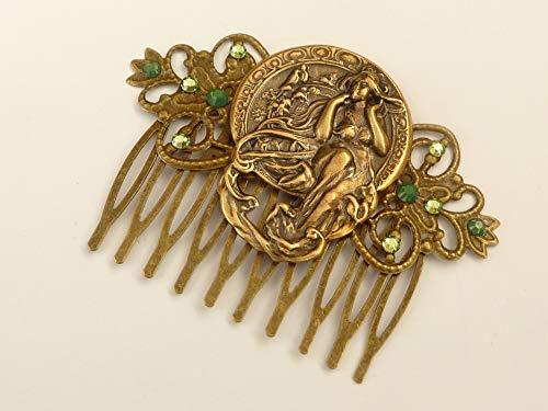 Haarkamm in Jugendstil Optik bronzefarben grüne Kristalle