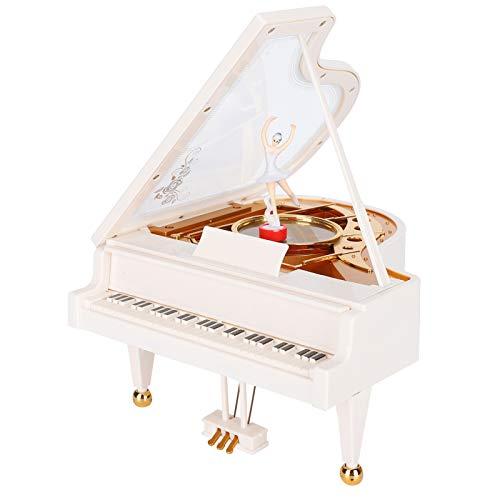 Tomanbery Preciosa Caja de música de Piano con Forma de Piano con Bailarina de Ballet giratoria Caja de música mecánica Adornos de Oficina Decoración de habitación para Regalo de cumpleaños