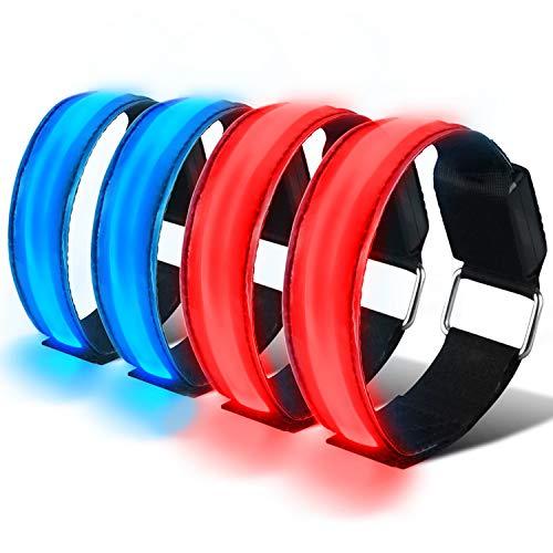 HEAWAA 4 Stück LED Reflective Armband Leucht Armbänder Wasserdicht Leuchtband Nacht Sicherheits Licht Reflektierende Armband Für Outdoor-Sport, Nachtlauf, große Festivalabende, Konzerte (Blau+rot)