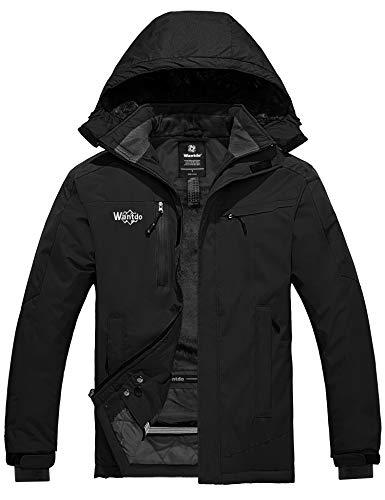 Wantdo Men's Waterproof Fleece Lined Ski Jacket Quilted Winter Outerwear Black M